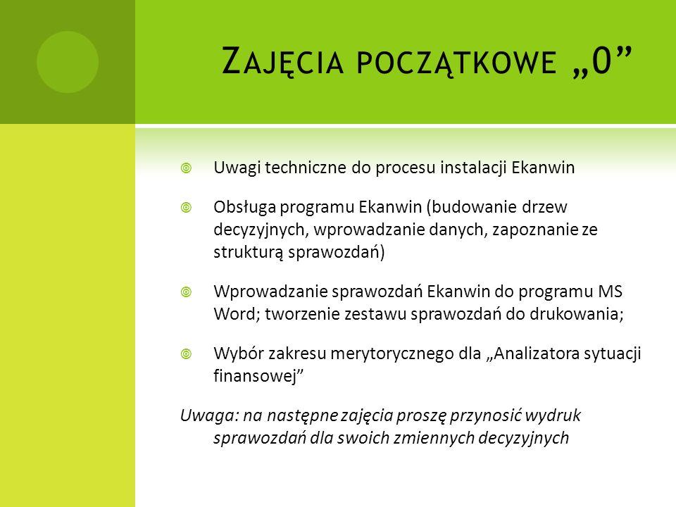 Z AJĘCIA POCZĄTKOWE 0 Uwagi techniczne do procesu instalacji Ekanwin Obsługa programu Ekanwin (budowanie drzew decyzyjnych, wprowadzanie danych, zapoz