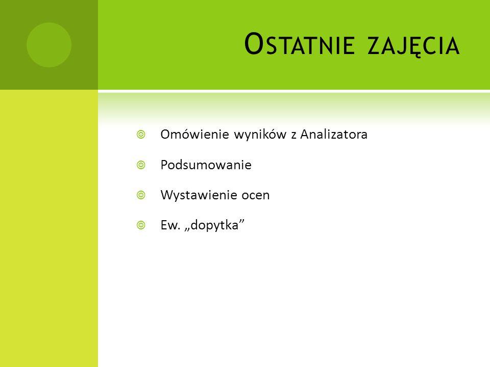 O STATNIE ZAJĘCIA Omówienie wyników z Analizatora Podsumowanie Wystawienie ocen Ew. dopytka