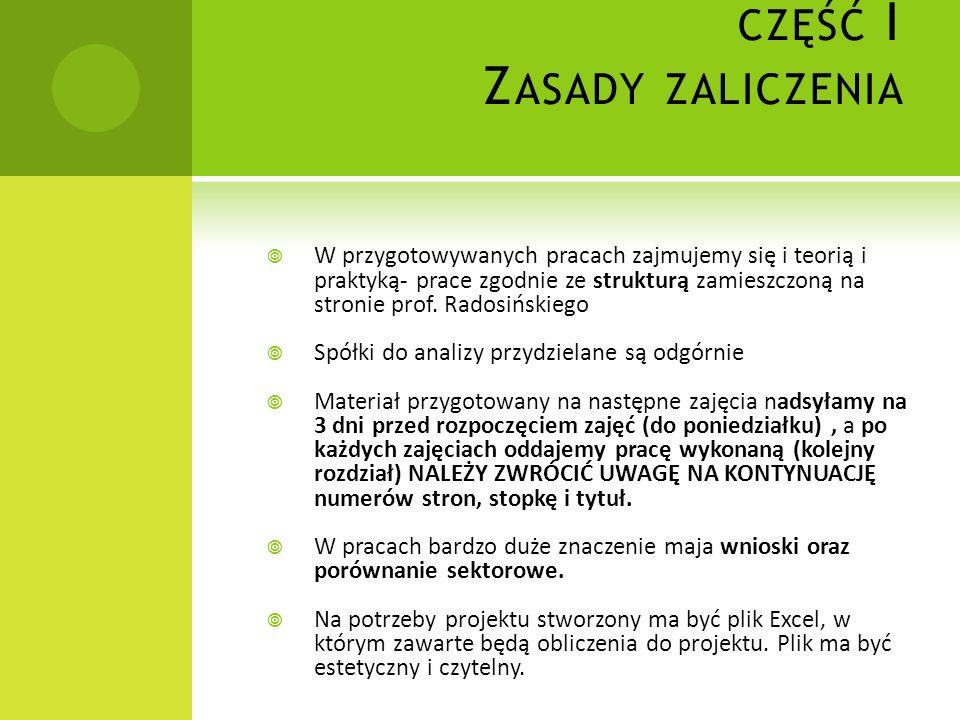CZĘŚĆ I Z ASADY ZALICZENIA W przygotowywanych pracach zajmujemy się i teorią i praktyką- prace zgodnie ze strukturą zamieszczoną na stronie prof. Rado