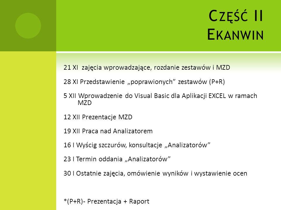 C ZĘŚĆ II E KANWIN 21 XI zajęcia wprowadzające, rozdanie zestawów i MZD 28 XI Przedstawienie poprawionych zestawów (P+R) 5 XII Wprowadzenie do Visual