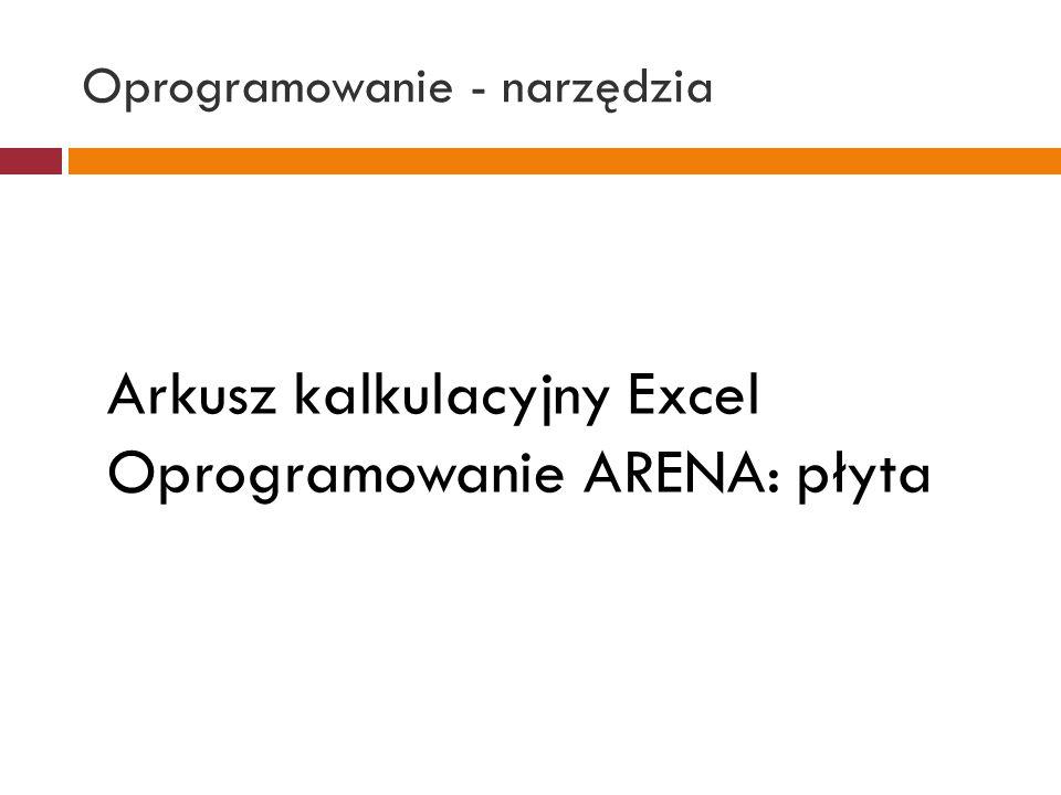 Oprogramowanie - narzędzia Arkusz kalkulacyjny Excel Oprogramowanie ARENA: płyta