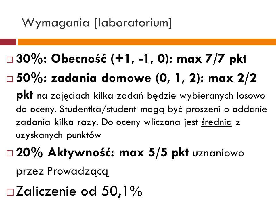 Wymagania [laboratorium] 30%: Obecność (+1, -1, 0): max 7/7 pkt 50%: zadania domowe (0, 1, 2): max 2/2 pkt na zajęciach kilka zadań będzie wybieranych losowo do oceny.
