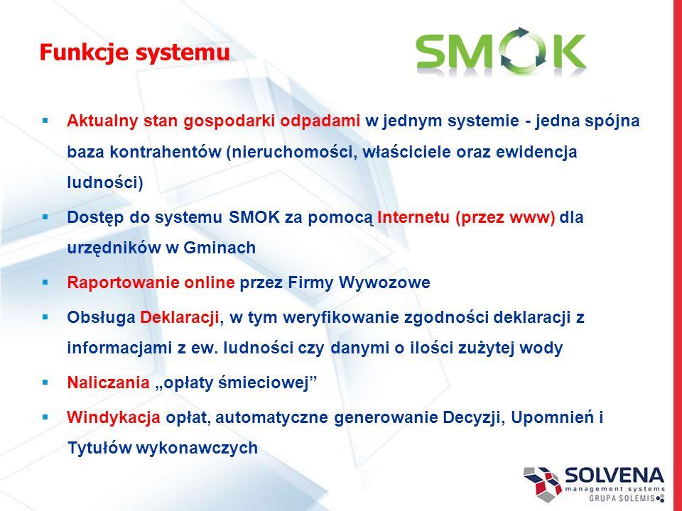 Funkcje systemu Aktualny stan gospodarki odpadami w jednym systemie - jedna spójna baza kontrahentów (nieruchomości, właściciele oraz ewidencja ludnoś