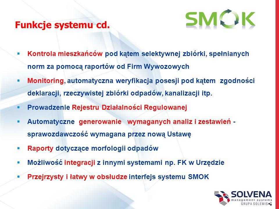 Funkcje systemu cd. Kontrola mieszkańców pod kątem selektywnej zbiórki, spełnianych norm za pomocą raportów od Firm Wywozowych Monitoring, automatyczn