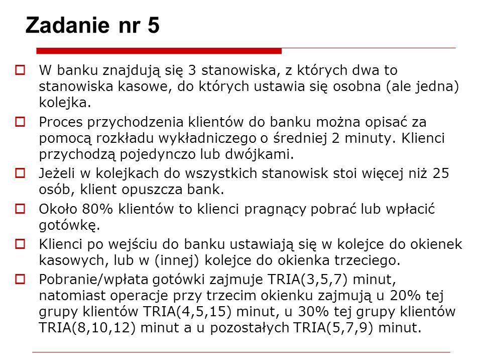 Zadanie nr 5 W banku znajdują się 3 stanowiska, z których dwa to stanowiska kasowe, do których ustawia się osobna (ale jedna) kolejka. Proces przychod
