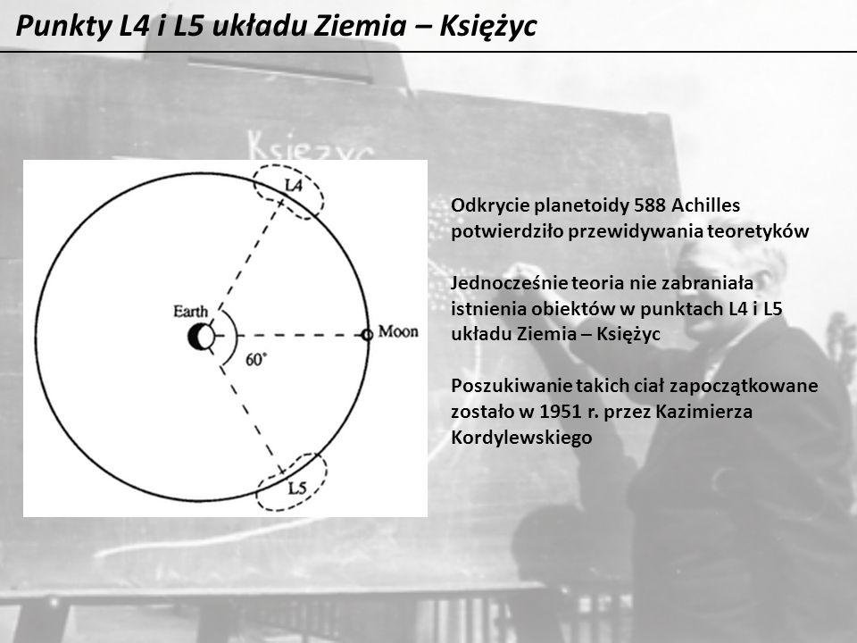 Punkty L4 i L5 układu Ziemia – Księżyc Odkrycie planetoidy 588 Achilles potwierdziło przewidywania teoretyków Jednocześnie teoria nie zabraniała istni