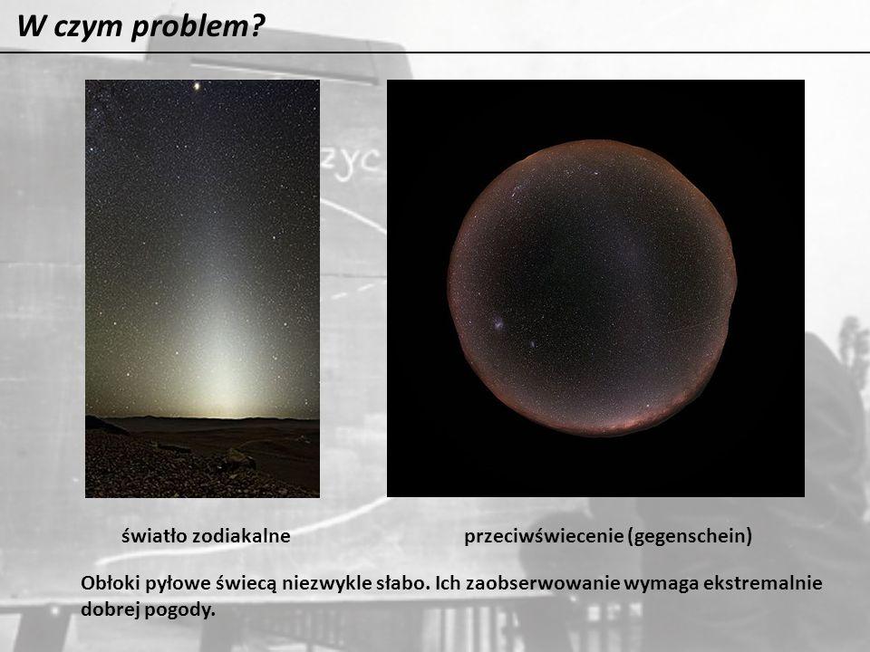 W czym problem? światło zodiakalneprzeciwświecenie (gegenschein) Obłoki pyłowe świecą niezwykle słabo. Ich zaobserwowanie wymaga ekstremalnie dobrej p
