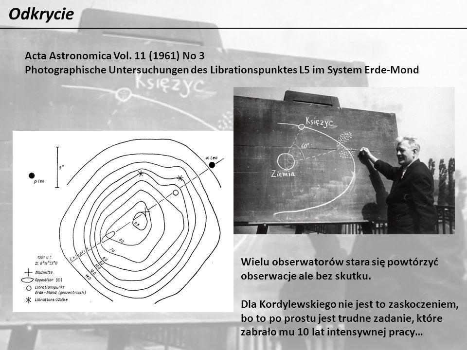Odkrycie Acta Astronomica Vol. 11 (1961) No 3 Photographische Untersuchungen des Librationspunktes L5 im System Erde-Mond Wielu obserwatorów stara się
