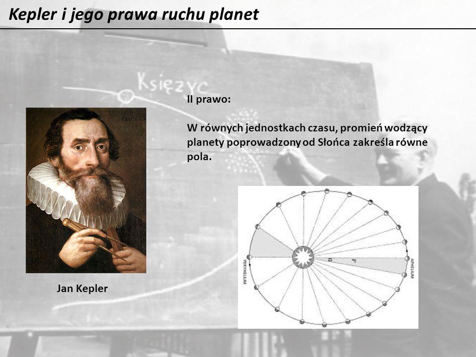 Kepler i jego prawa ruchu planet Jan Kepler II prawo: W równych jednostkach czasu, promień wodzący planety poprowadzony od Słońca zakreśla równe pola.