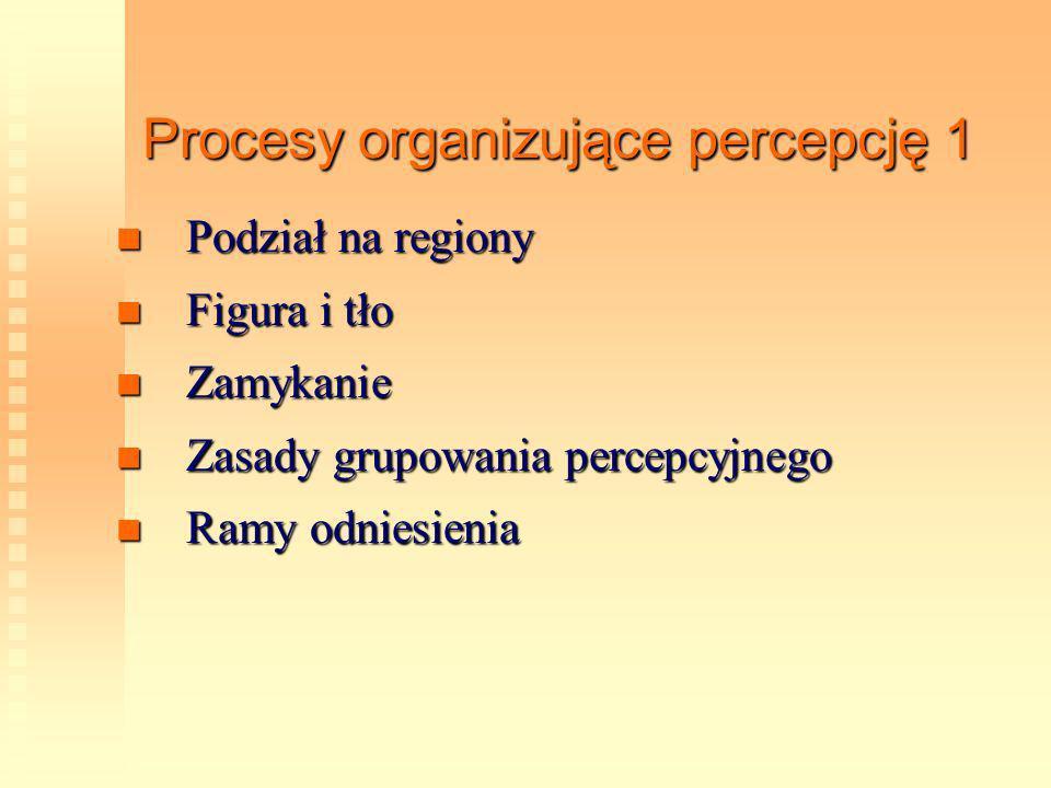 Procesy organizujące percepcję 1 Podział na regiony Podział na regiony Figura i tło Figura i tło Zamykanie Zamykanie Zasady grupowania percepcyjnego Z
