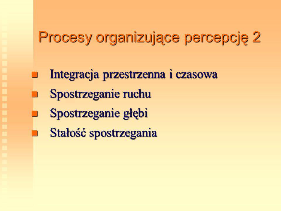 Procesy organizujące percepcję 2 Integracja przestrzenna i czasowa Integracja przestrzenna i czasowa Spostrzeganie ruchu Spostrzeganie ruchu Spostrzeg