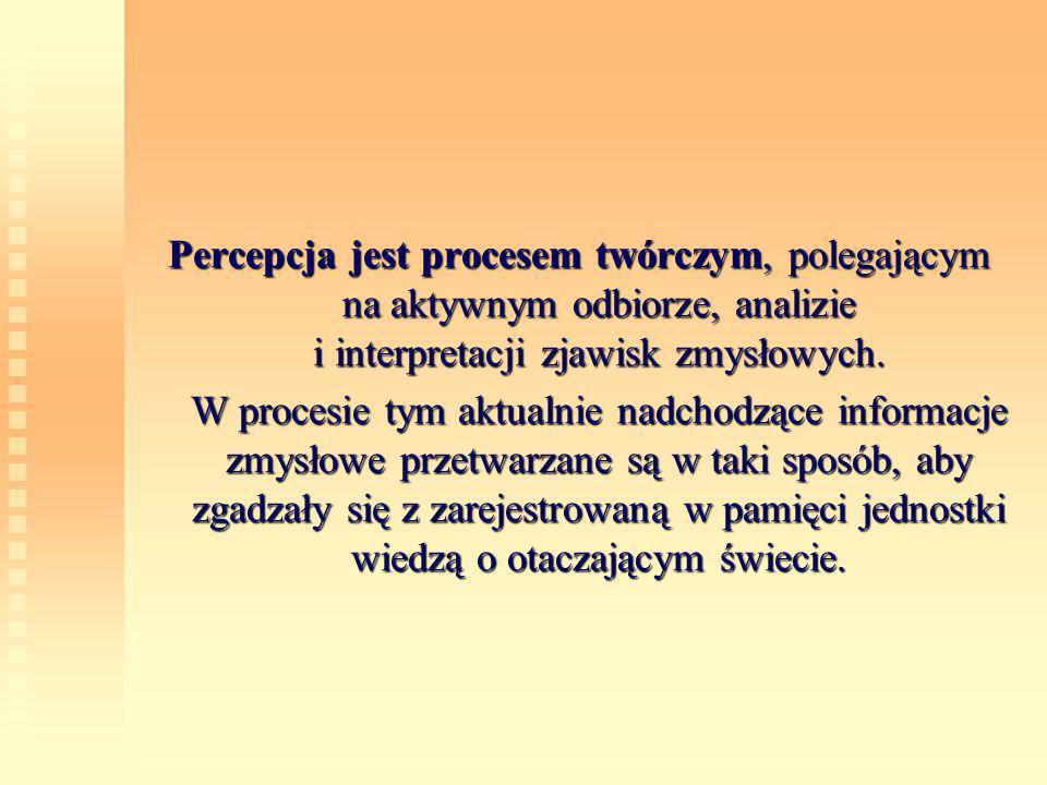 Percepcja jest procesem twórczym, polegającym na aktywnym odbiorze, analizie i interpretacji zjawisk zmysłowych. W procesie tym aktualnie nadchodzące