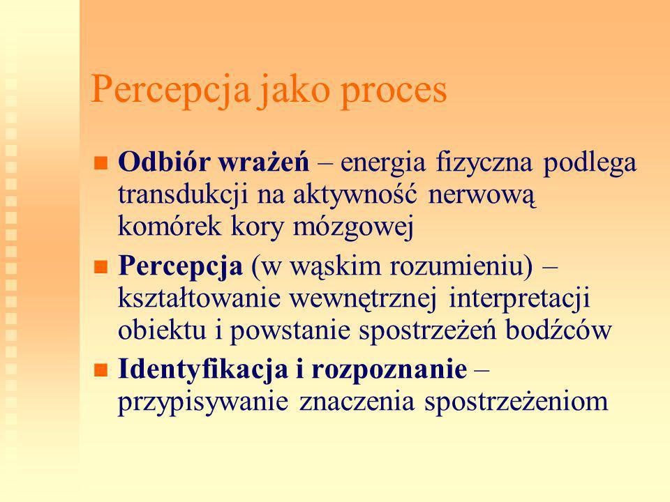 Percepcja jako proces Odbiór wrażeń – energia fizyczna podlega transdukcji na aktywność nerwową komórek kory mózgowej Percepcja (w wąskim rozumieniu)