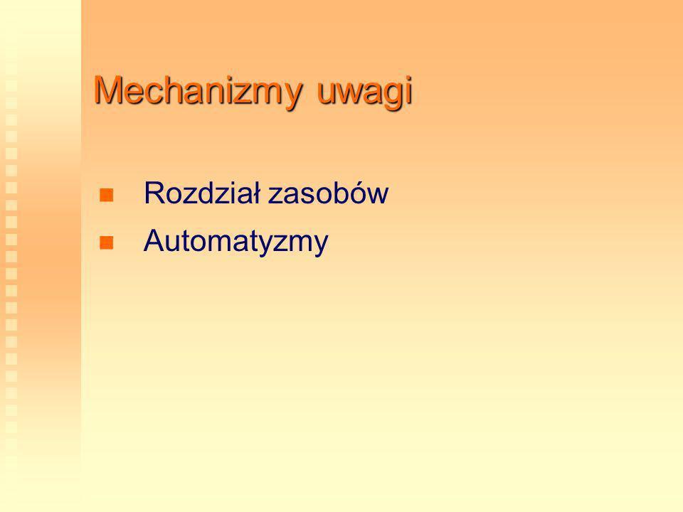 Mechanizmy uwagi Rozdział zasobów Automatyzmy