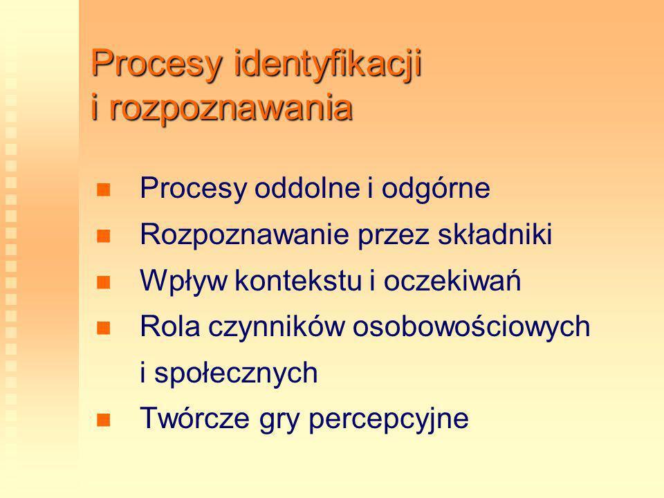 Procesy identyfikacji i rozpoznawania Procesy oddolne i odgórne Rozpoznawanie przez składniki Wpływ kontekstu i oczekiwań Rola czynników osobowościowy