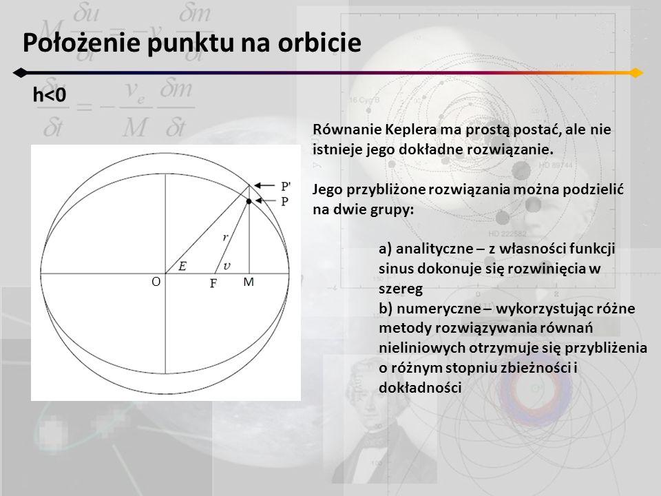 Położenie punktu na orbicie h<0 O Równanie Keplera ma prostą postać, ale nie istnieje jego dokładne rozwiązanie. Jego przybliżone rozwiązania można po