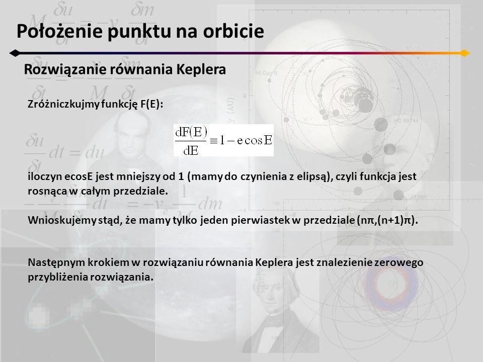 Położenie punktu na orbicie Rozwiązanie równania Keplera Zróżniczkujmy funkcję F(E): iloczyn ecosE jest mniejszy od 1 (mamy do czynienia z elipsą), cz