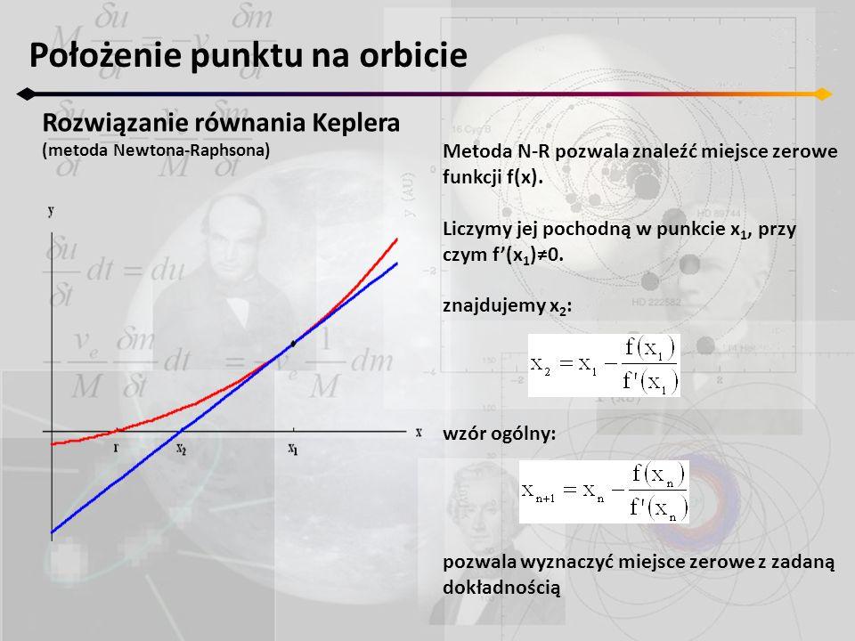 Położenie punktu na orbicie Rozwiązanie równania Keplera (metoda Newtona-Raphsona) Metoda N-R pozwala znaleźć miejsce zerowe funkcji f(x). Liczymy jej
