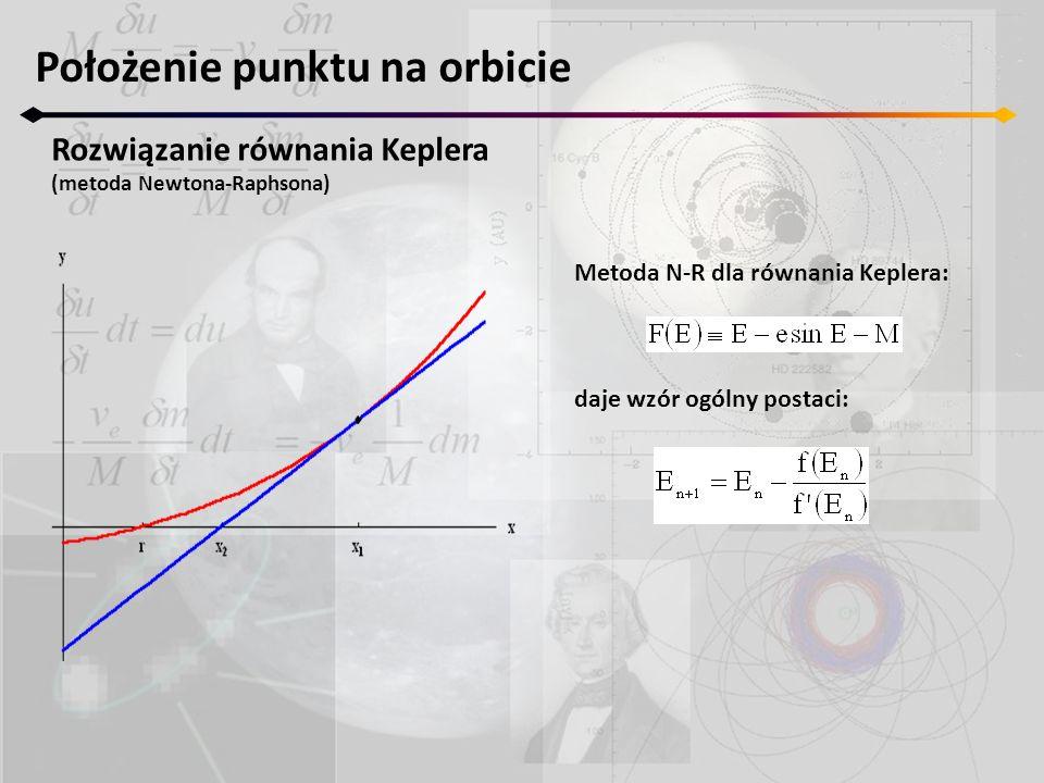 Położenie punktu na orbicie Rozwiązanie równania Keplera (metoda Newtona-Raphsona) Metoda N-R dla równania Keplera: daje wzór ogólny postaci: