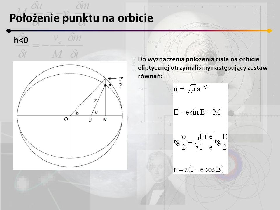 Położenie punktu na orbicie h<0 O Do wyznaczenia położenia ciała na orbicie eliptycznej otrzymaliśmy następujący zestaw równań: