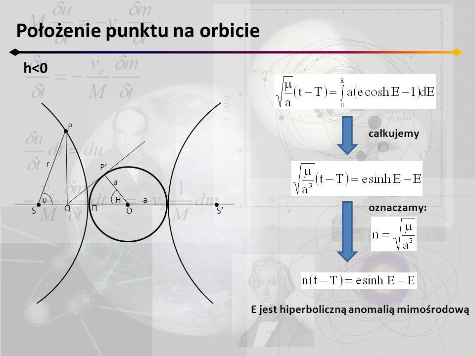 Położenie punktu na orbicie h<0 SS a a P P r O ΠQ υH całkujemy oznaczamy: E jest hiperboliczną anomalią mimośrodową