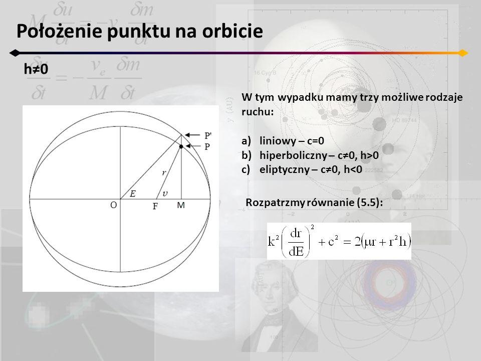 Położenie punktu na orbicie h0h0 O W tym wypadku mamy trzy możliwe rodzaje ruchu: a)liniowy – c=0 b)hiperboliczny – c0, h>0 c)eliptyczny – c0, h<0 Roz