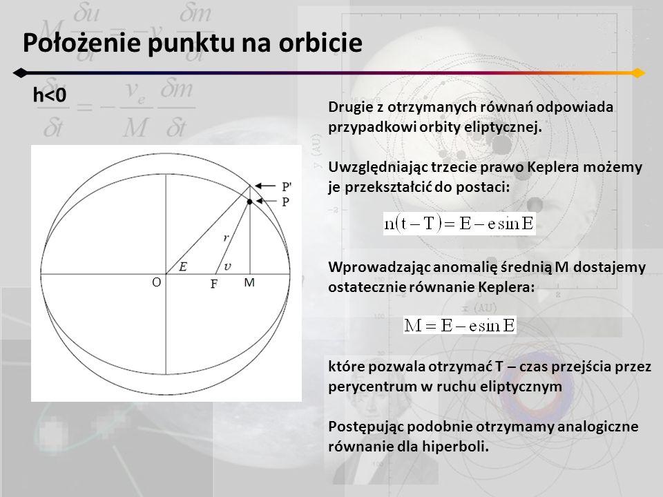 Położenie punktu na orbicie h<0 O Drugie z otrzymanych równań odpowiada przypadkowi orbity eliptycznej. Uwzględniając trzecie prawo Keplera możemy je