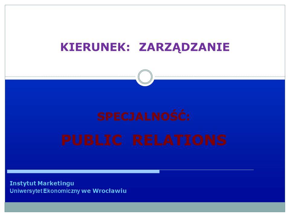 KIERUNEK: ZARZĄDZANIE Instytut Marketingu Uniwersytet Ekonomiczny we Wrocławiu SPECJALNOŚĆ: PUBLIC RELATIONS
