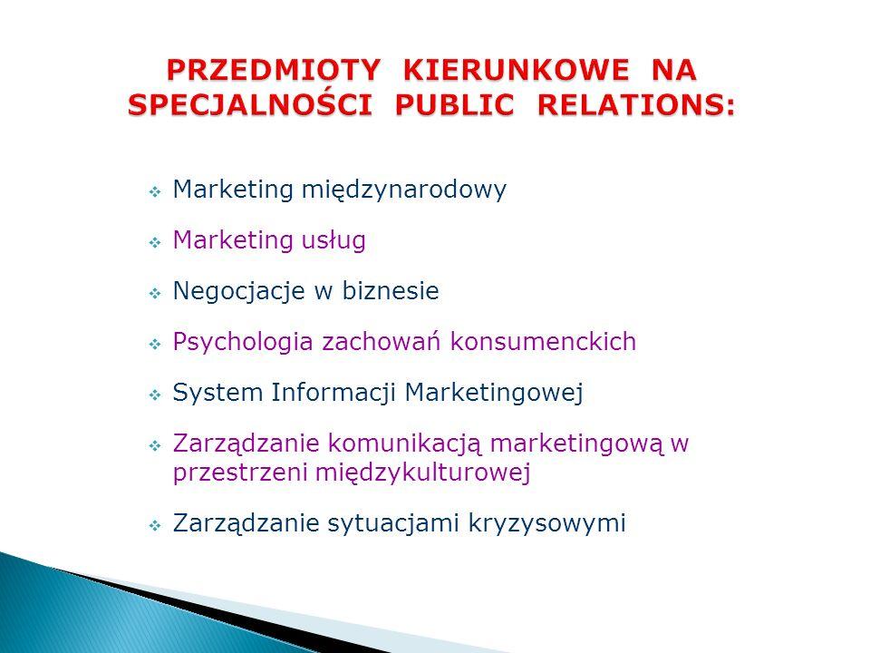 Foundraising i wolontariat Media relations i rynek mediów Prezentacje i wystąpienia publiczne Product placement Programy i kampanie społeczne Public relations instytucji finansowych Relacje inwestorskie Sponsoring i lobbing Wewnętrzny public relations