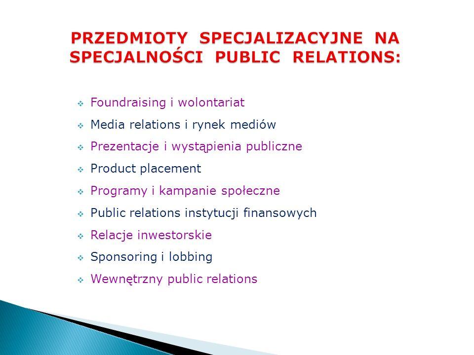 Foundraising i wolontariat Media relations i rynek mediów Prezentacje i wystąpienia publiczne Product placement Programy i kampanie społeczne Public r