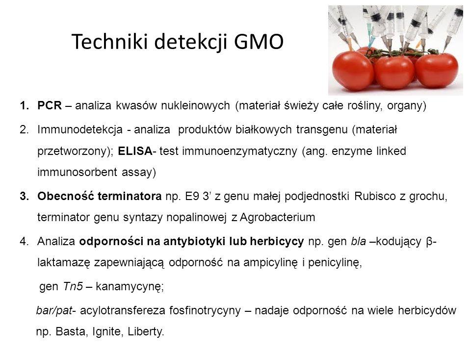 Techniki detekcji GMO 1.PCR – analiza kwasów nukleinowych (materiał świeży całe rośliny, organy) 2.Immunodetekcja - analiza produktów białkowych trans