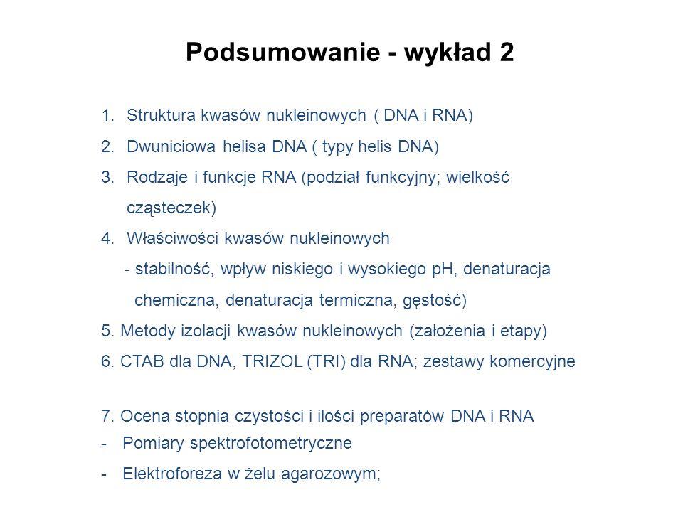 Podsumowanie - wykład 2 1.Struktura kwasów nukleinowych ( DNA i RNA) 2.Dwuniciowa helisa DNA ( typy helis DNA) 3.Rodzaje i funkcje RNA (podział funkcy