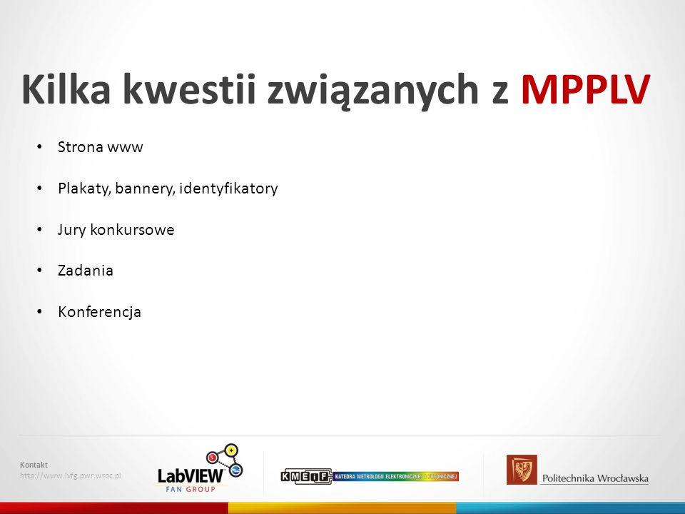 Kilka kwestii związanych z MPPLV Kontakt http://www.lvfg.pwr.wroc.pl Strona www Plakaty, bannery, identyfikatory Jury konkursowe Zadania Konferencja
