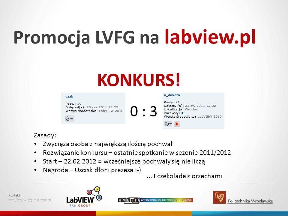 Promocja LVFG na labview.pl Kontakt http://www.lvfg.pwr.wroc.pl KONKURS.