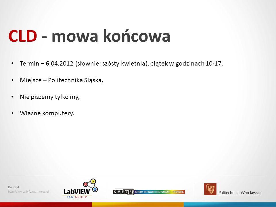 CLD - mowa końcowa Kontakt http://www.lvfg.pwr.wroc.pl Termin – 6.04.2012 (słownie: szósty kwietnia), piątek w godzinach 10-17, Miejsce – Politechnika