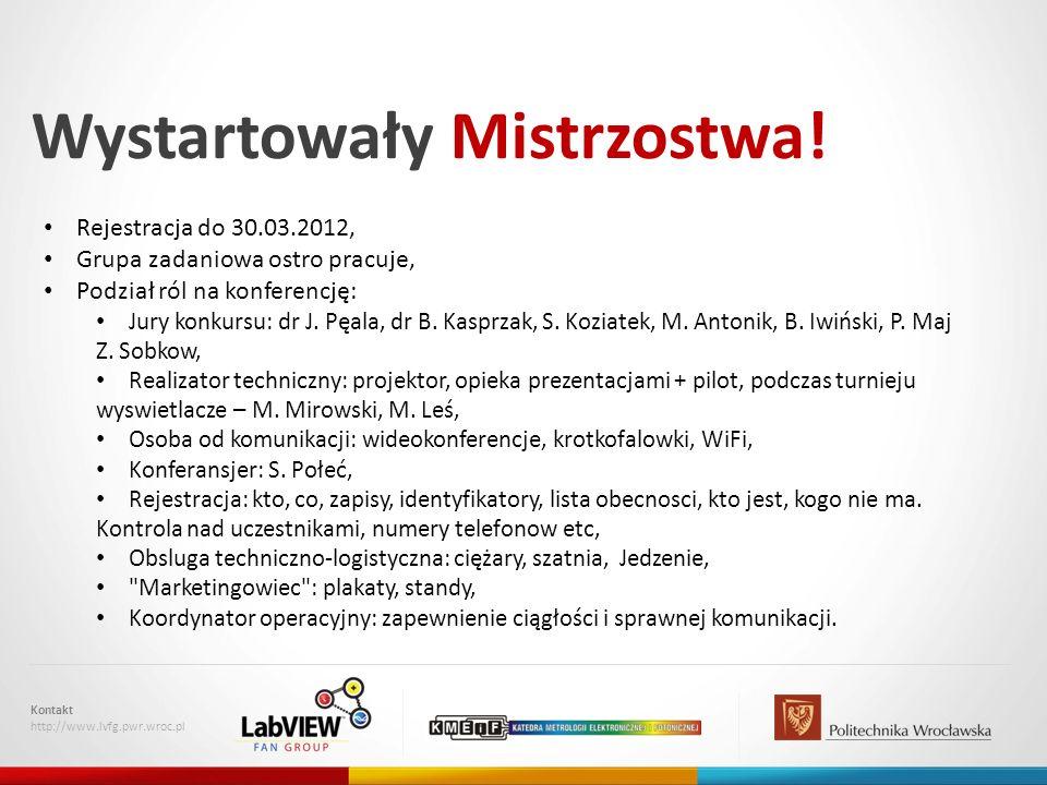 Wystartowały Mistrzostwa! Kontakt http://www.lvfg.pwr.wroc.pl Rejestracja do 30.03.2012, Grupa zadaniowa ostro pracuje, Podział ról na konferencję: Ju