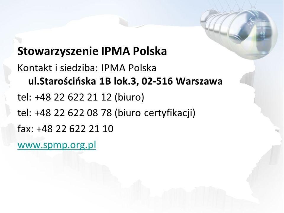 Stowarzyszenie IPMA Polska Kontakt i siedziba: IPMA Polska ul.Starościńska 1B lok.3, 02-516 Warszawa tel: +48 22 622 21 12 (biuro) tel: +48 22 622 08 78 (biuro certyfikacji) fax: +48 22 622 21 10 www.spmp.org.pl