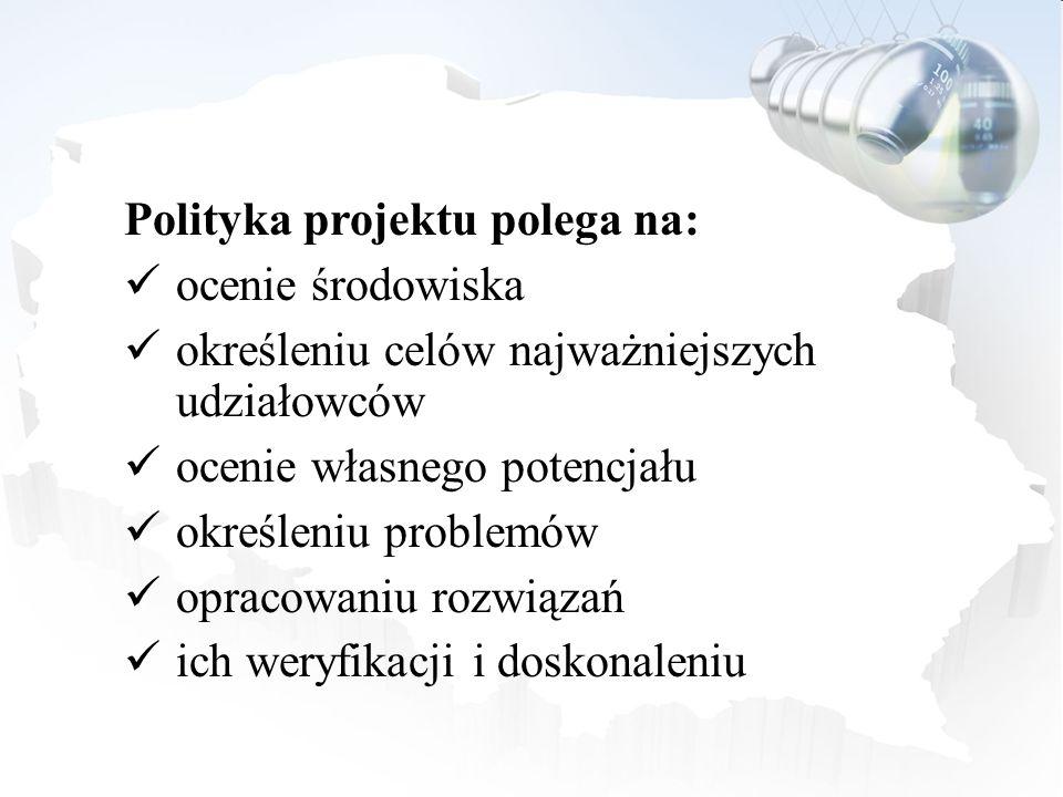 Polityka projektu polega na: ocenie środowiska określeniu celów najważniejszych udziałowców ocenie własnego potencjału określeniu problemów opracowani