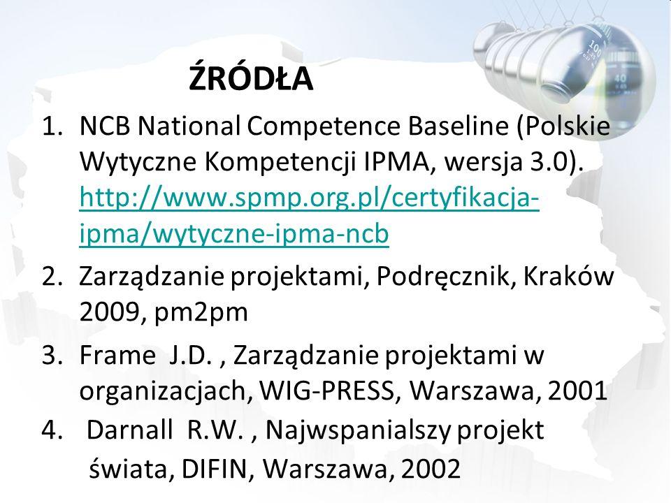 ŹRÓDŁA 1.NCB National Competence Baseline (Polskie Wytyczne Kompetencji IPMA, wersja 3.0). http://www.spmp.org.pl/certyfikacja- ipma/wytyczne-ipma-ncb
