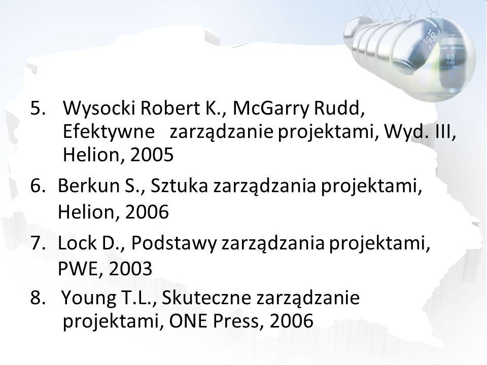 5.Wysocki Robert K., McGarry Rudd, Efektywne zarządzanie projektami, Wyd. III, Helion, 2005 6.Berkun S., Sztuka zarządzania projektami, Helion, 2006 7