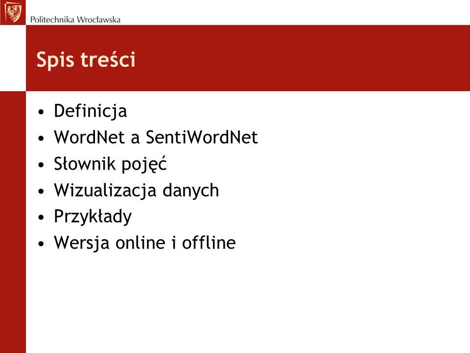 Spis treści Definicja WordNet a SentiWordNet Słownik pojęć Wizualizacja danych Przykłady Wersja online i offline