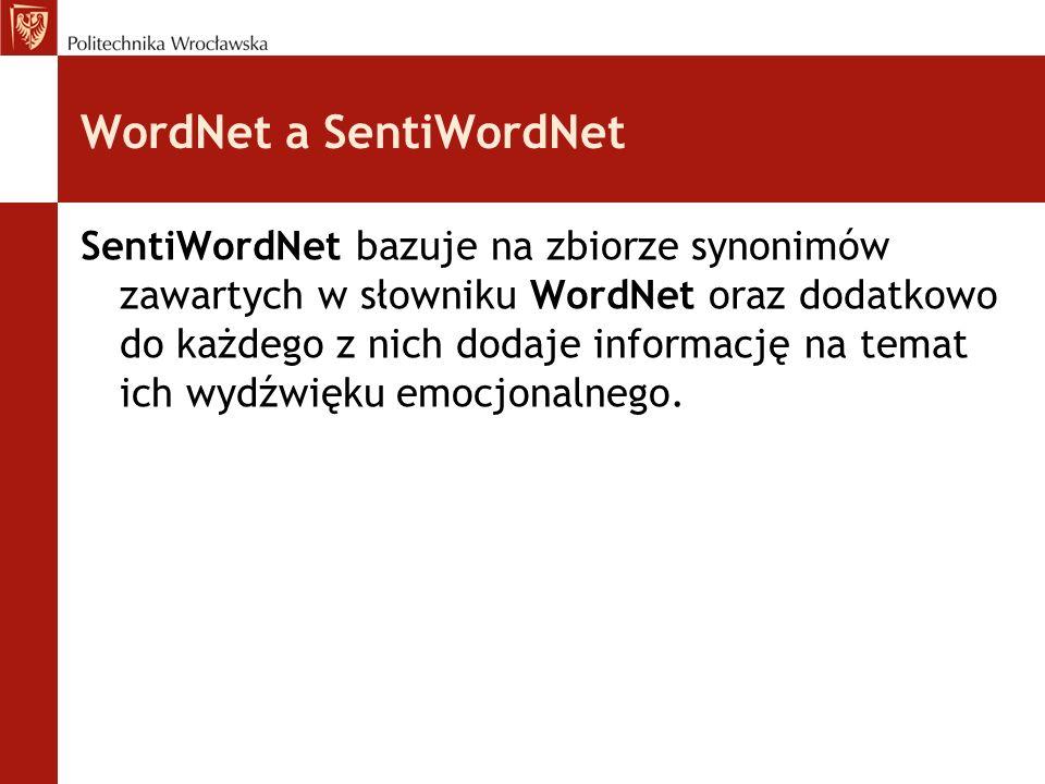 WordNet a SentiWordNet SentiWordNet bazuje na zbiorze synonimów zawartych w słowniku WordNet oraz dodatkowo do każdego z nich dodaje informację na tem