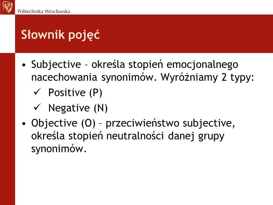 Słownik pojęć Subjective – określa stopień emocjonalnego nacechowania synonimów. Wyróżniamy 2 typy: Positive (P) Negative (N) Objective (O) – przeciwi