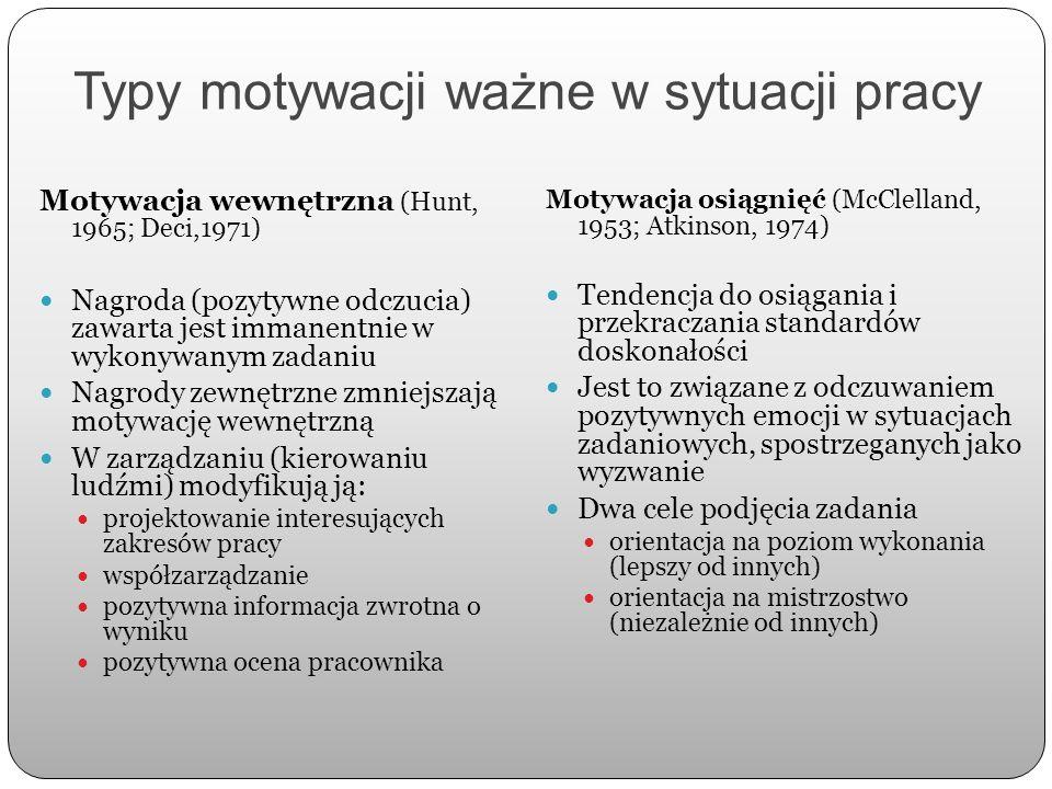 Typy motywacji ważne w sytuacji pracy Motywacja wewnętrzna (Hunt, 1965; Deci,1971) Nagroda (pozytywne odczucia) zawarta jest immanentnie w wykonywanym