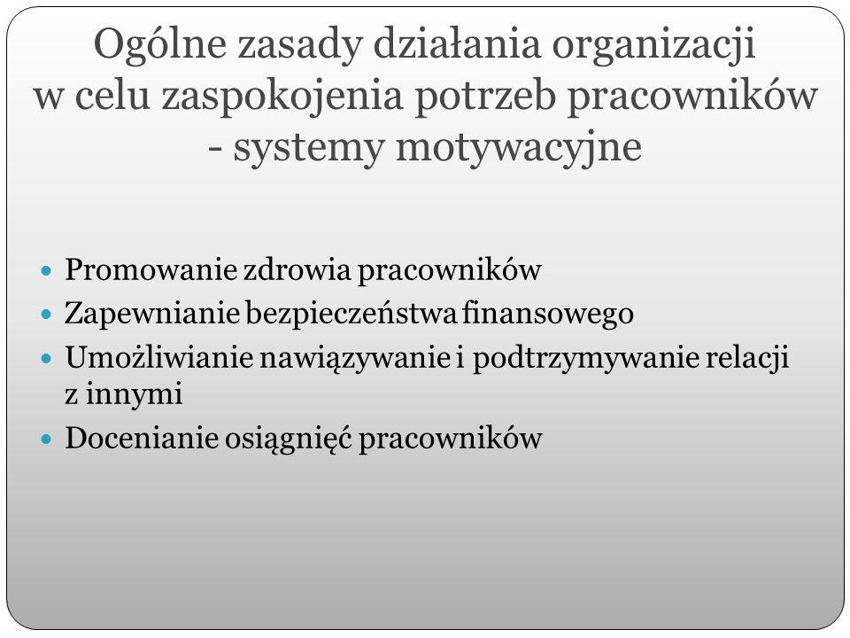Ogólne zasady działania organizacji w celu zaspokojenia potrzeb pracowników - systemy motywacyjne Promowanie zdrowia pracowników Zapewnianie bezpiecze