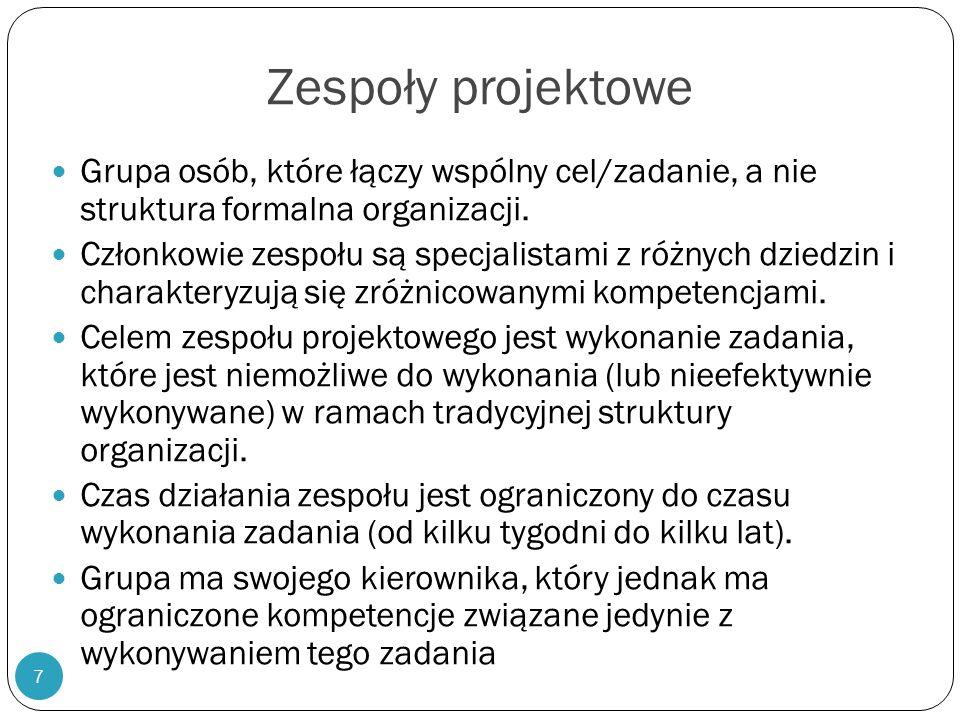 7 Zespoły projektowe Grupa osób, które łączy wspólny cel/zadanie, a nie struktura formalna organizacji. Członkowie zespołu są specjalistami z różnych