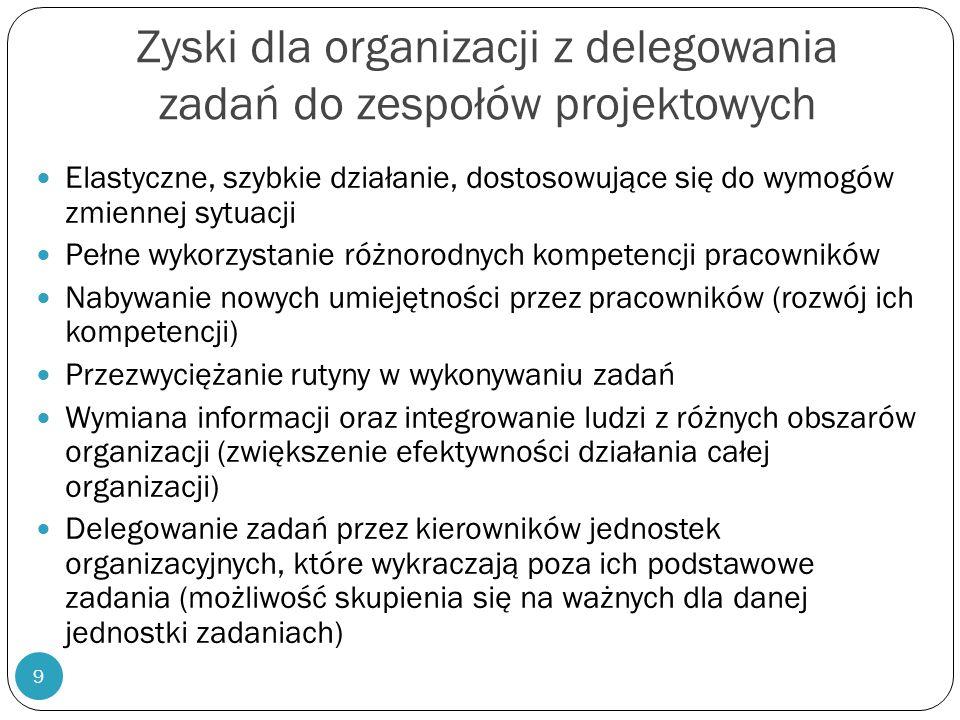 9 Zyski dla organizacji z delegowania zadań do zespołów projektowych Elastyczne, szybkie działanie, dostosowujące się do wymogów zmiennej sytuacji Peł
