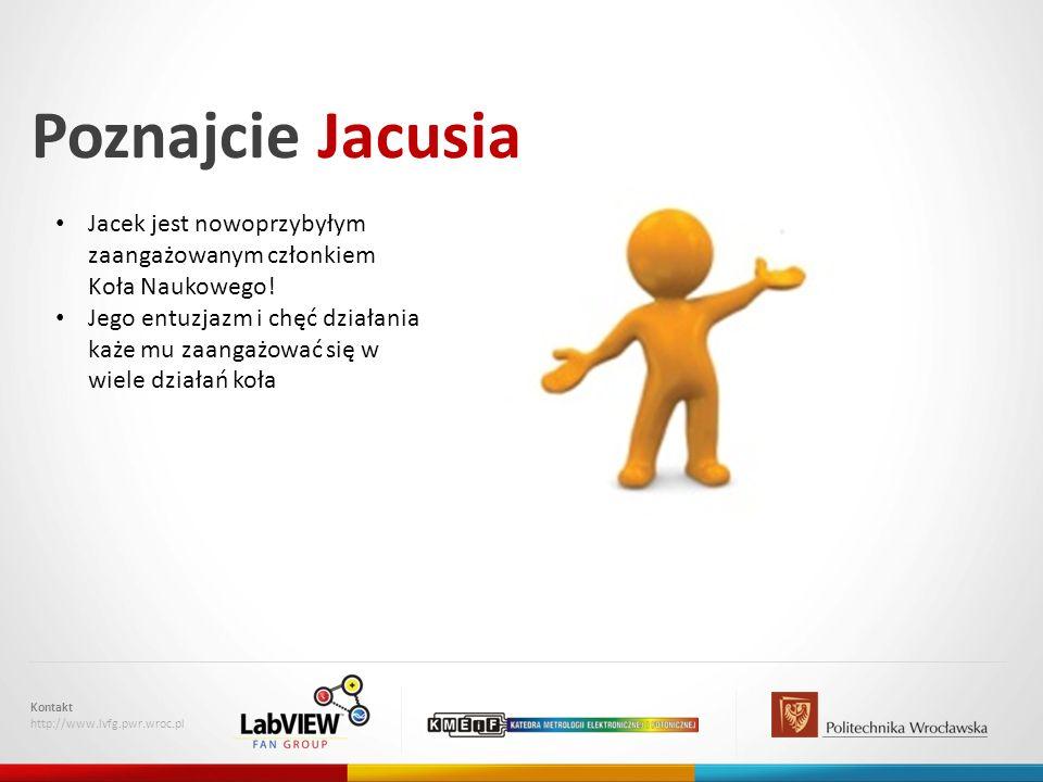 Poznajcie Jacusia Kontakt http://www.lvfg.pwr.wroc.pl Jacek jest nowoprzybyłym zaangażowanym członkiem Koła Naukowego! Jego entuzjazm i chęć działania