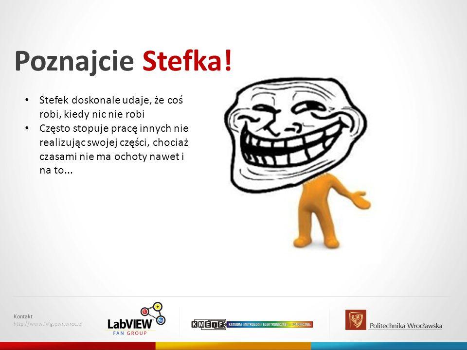 Poznajcie Stefka! Kontakt http://www.lvfg.pwr.wroc.pl Stefek doskonale udaje, że coś robi, kiedy nic nie robi Często stopuje pracę innych nie realizuj