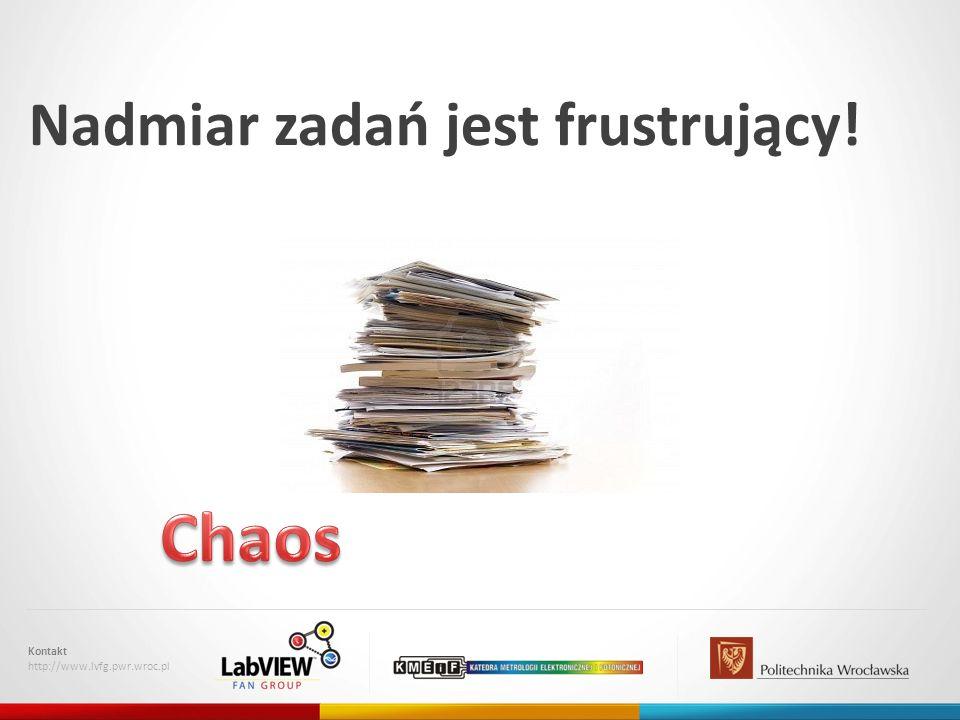 Nadmiar zadań jest frustrujący! Kontakt http://www.lvfg.pwr.wroc.pl